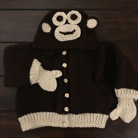 Hooded Monkey Toddler Jacket With Mittens   Yarn #4 in cream and brown  One pair of circular Knitting needles in size 5mm  Two pairs o...