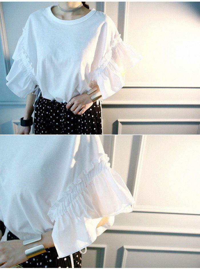 フリル袖 tシャツ レディース/袖フリルトップス フリルトップス:naning9(ナンニング)