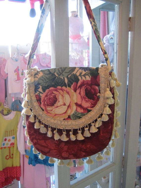 BOHEMIAN GYPSY Bag Roses and Fringe by Rosemary's Garden