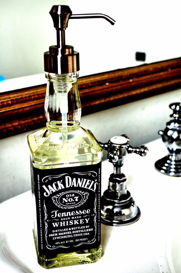 DIY Mancave Decor Ideas - Jack Daniel's Soap Dispenser - Step by Step Tutorials and Do It Yourself Projects for Your Man Cave - Easy DIY Furniture, Wall Art, Sinks, Coolers, Storage, Shelves, Games, Seating and Home Decor for Your Garage Room - Fun DIY Pr