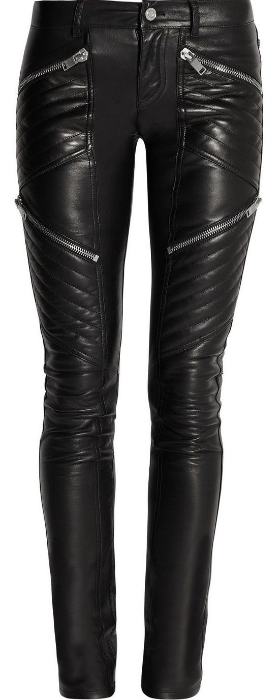 New Black Genuine Leather Leggings Quilted Skinny Pants ...
