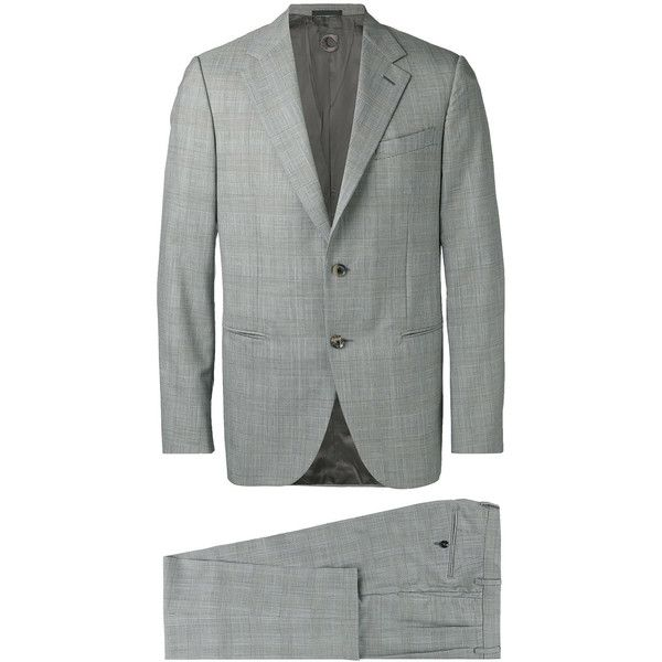 Caruso formal suit (1353720 IQD) ❤ liked on Polyvore featuring men's fashion, men's clothing, men's suits, grey, mens grey suits, mens gray suit and mens formal suits