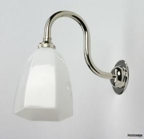 Hexagon milk glass wall light