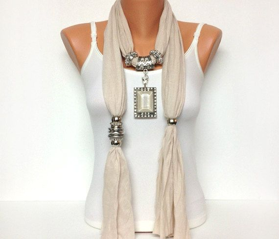 jewelry scarf cream    I like coordinating the focal stone with the color of the scarf.