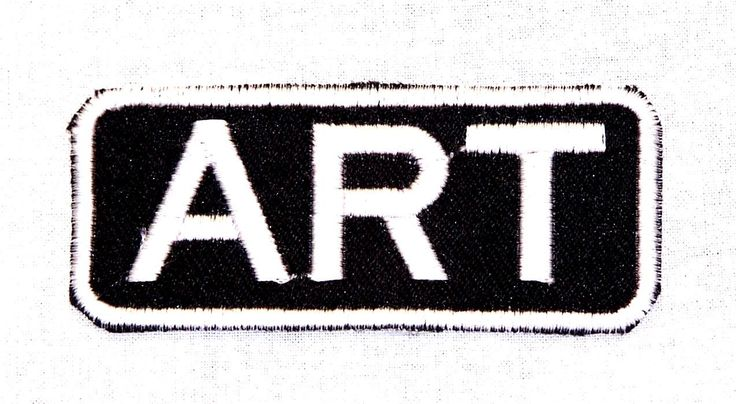 ART White on Black Iron on Name Badge Patch for Biker Vest NB199. Patch Size 3 ¼ inch X 1 ¼ inch Embroidered patches for jacket vest or shirt. High quality stitching. Sealed back to easily sew patches