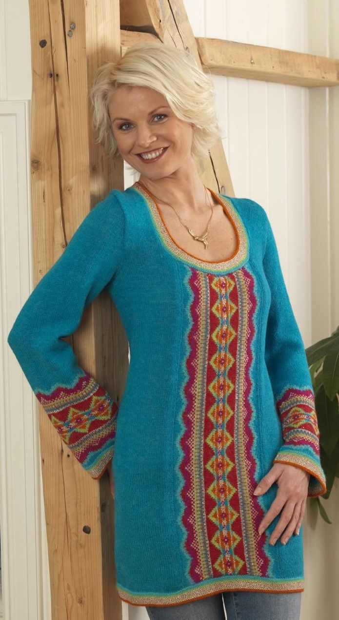 Knitted tunic / dress, turquoise, gold and read. Design by Bente Presterud Røvik, for magazine Familien