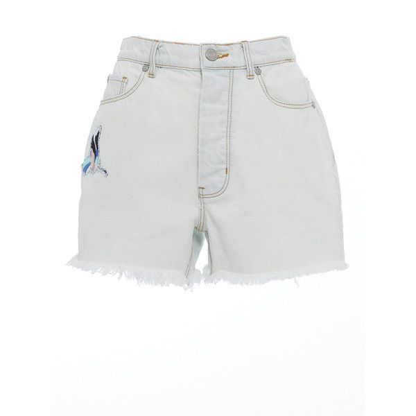 Rebecca Taylor     Bird Patch Rigid Denim Short ($175) ❤ liked on Polyvore featuring shorts, white, mid rise jean shorts, white shorts, short jean shorts, jean shorts and mid rise denim shorts