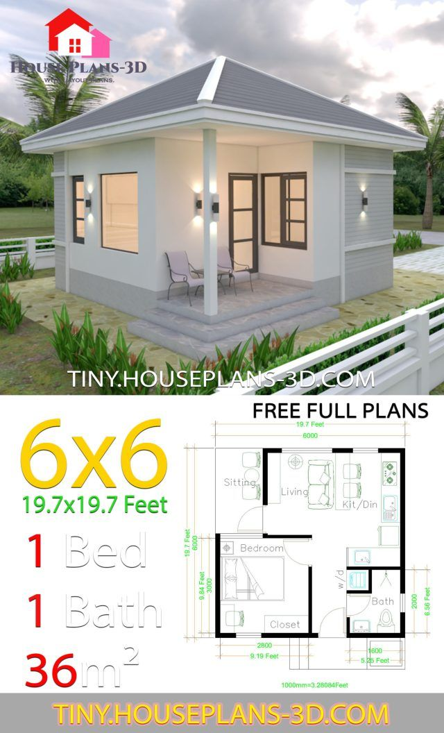 Small House Plans 6x6 With One Bedroom Hip Roof Tiny House Plans Small House Architecture Small House Design Tiny House Design