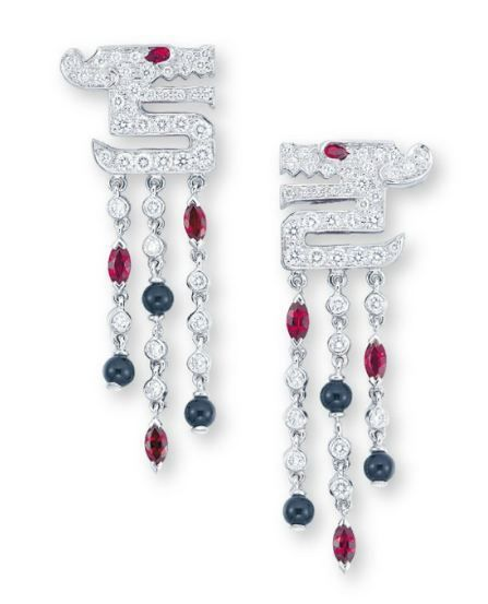 Lot 1693 -  A PAIR OF DIAMOND, RUBY AND ONYX 'LE BAISER DU DRAGON' EAR PENDANTS, BY CARTIER