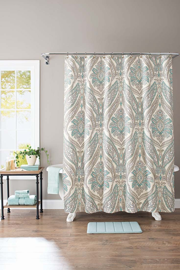 Chevron bathroom sets with shower curtain and rugs - Better Homes And Gardens Damask Aqua Paisley 13 Piece Shower Curtain Set Hooks Included