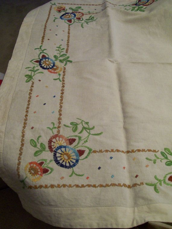 CACTUS CLOTH TABLECLOTH VINTAGE EMBROIDERED HEAVY CLOTH Measures 40 x 28. In good condition, no rips tears or stains. Heavy cloth embroidered with bright florals. -found at an Illinois estate