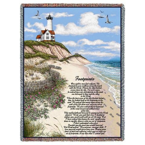 Footprints Poem and Lighthouse Scene Art Tapestry Throw