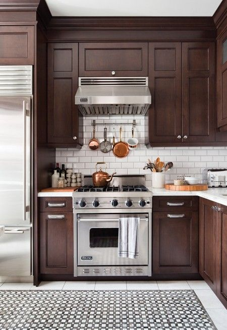 Mark Challen's Handsome Bistro Kitchen // Photographer Donna Griffith // House & Home September 2011 issueEspresso Cabinets, Cabinets Colors, Contemporary Kitchens, Dark Cabinets, Dark Brown,  Microwave Ovens, Dark Wood, Bistros Kitchens, White Subway Tile