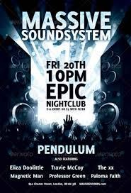 "A good contrast between black and white, ""massive sound system"" at the top of the page to make it stand out and emphasise the poster."
