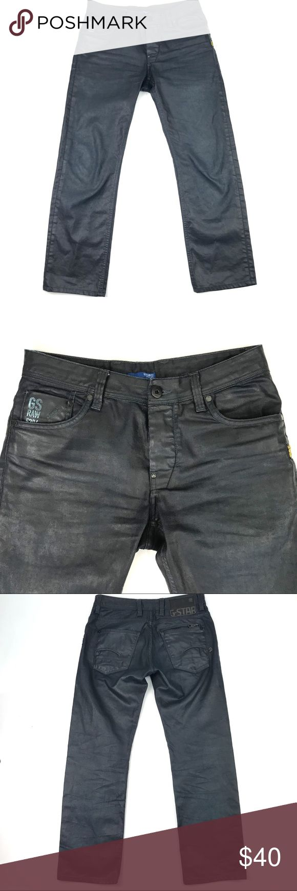 """G Star Raw Dark Coated Jeans Attacc Low Straight G Star Raw Dark Coated Jeans Mens 31 Attacc Low Straight 31x29 (hemmed)    Condition: Pre-owned Gently Worn No Stains No Holes Hemmed to a 29"""" Inseam (Tag is marked 31x34)    Measurements taken while garment was laying flat: These measurements were personally taken and are approximate:  Waist inches- 16 Rise inches- 9.5 Inseam inches- 29 Leg Opening inches- 8 G-Star Jeans Straight"""