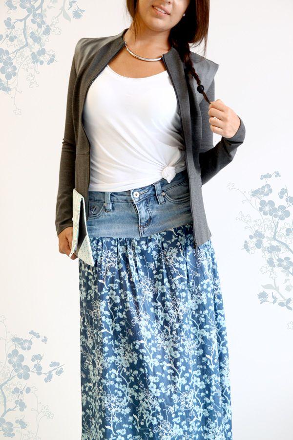 autre modèle de jupe avec un vieux jean et du tissu coordonné