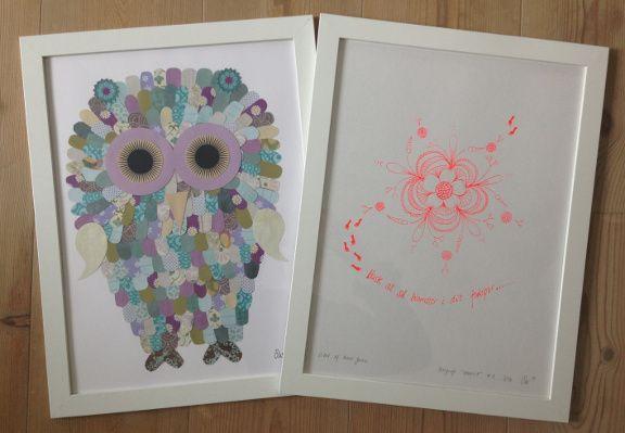 """Uglecollage og neonfarvet serigrafisk tryk med min blomster doodle: """"Husk at så blomster i dit fodspor"""". Kreeret af Susanne Randers"""