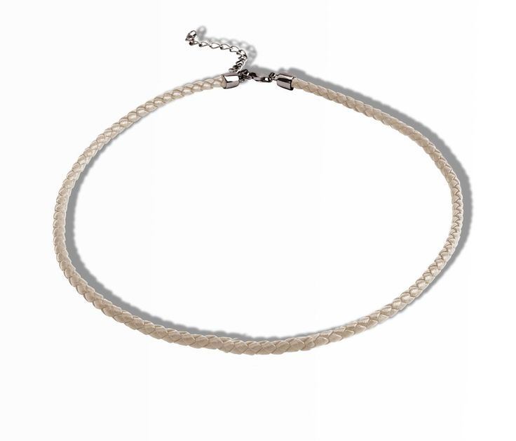 Real leather nude choker sterling silver black rhodium plated