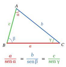 El  teorema del seno es una relación de proporcionalidad entre las longitudes de los lados de un triángulo y los senos de los ángulos opuestos a ellos.  Se usa en trigonométrica para resolver triángulos en los que se conocen dos ángulos y un lado opuesto a ellos o cuando se conocen dos lados y un angulo opuesto a estos.