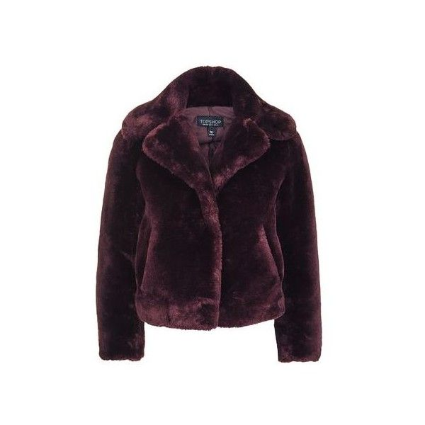 TopShop Crop Chubby Faux Fur Coat ($170) ❤ liked on Polyvore featuring outerwear, coats, jackets, burgundy, cropped coat, imitation fur coats, burgundy coat, topshop coats and calf-length coats