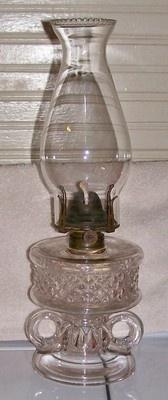 Findlay Cross Lens Oklahoma Ellipse Two Double handled finger oil lamp