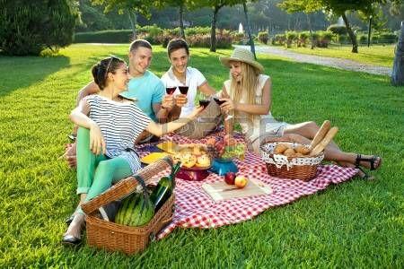 пикник: Четверо молодых друзей пикник в парке, сидя на деревенском красные и белые ткани проверены на зеленом газоне с тостов бокала красного вина