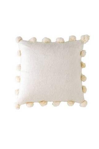 throw pillow ideas white pillow with pom poms