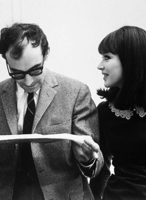 weepling:  Jean-Luc Godard and Anna Karina on the set of Alphaville