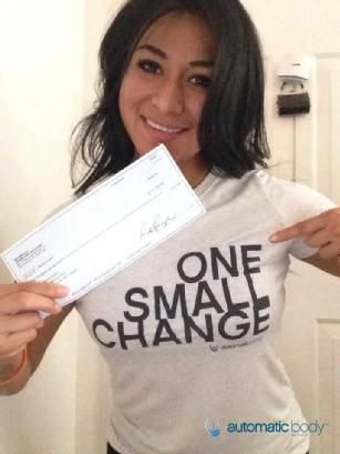 When was the last time you were paid $1000 for getting into the best shape of your life?  For Rosie Lorenz...it was TODAY! www.automaticbody.com  #OneSmallChange #TransformationContest