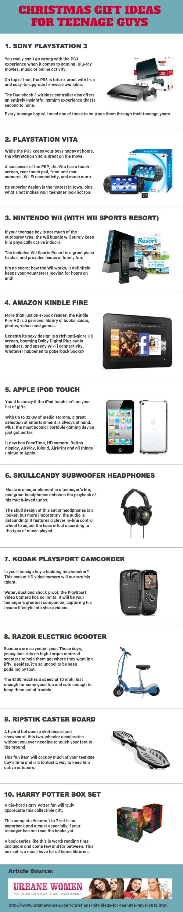 Christmas Gift Ideas Teenage Guys Part - 40: Awesome Christmas Gift Ideas For Teenage Guys 2012 Infographic