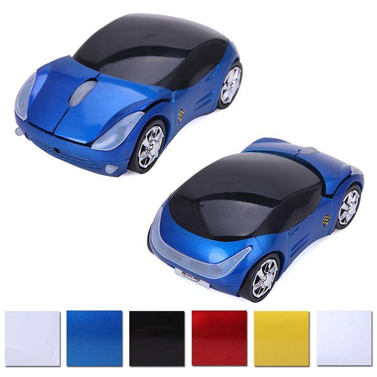 Wireless Cordless 2.4G DPI Race Auto LED Optical Car USB PC Mouse Mice for desktop laptop macbook mac gift kids Blue