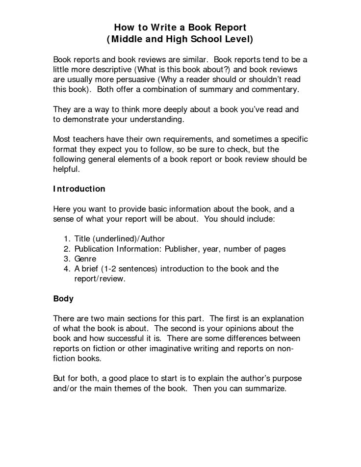 How to write a college book report paper