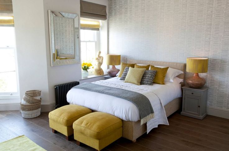 Grey and yellow bedroom design