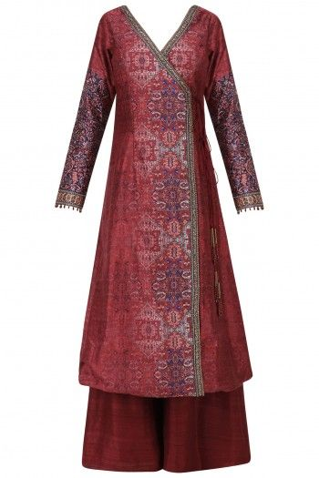Ekaya Maroon Handwoven Angrakha Tunic with Palazzo Pants