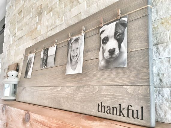 This unique picture frame can easily become the focal point in any room with the word thankful, grateful or blessed! Such a beautiful and rustic way to display you and your loved ones memorable photos and it makes switching out pictures a breeze! These wood photo frames would make a great gift! This listing is for one photo wood board with the word of: thankful, grateful or blessed. The photo wood board could also be left blank or have a wording of your choice - if you would like your own…