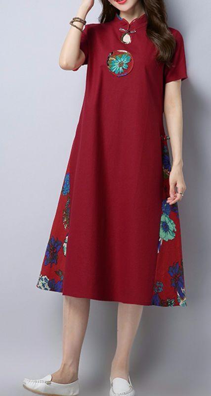 Herraje de Mujer Suelto sobre el vestido bordado de flores Talla Grande Túnica Hebilla De Placa