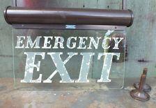 VINTAGE LARGE ILLUMINATED EMERGENCY EXIT SIGN BEST & LLOYD LINOLITE ART DECO