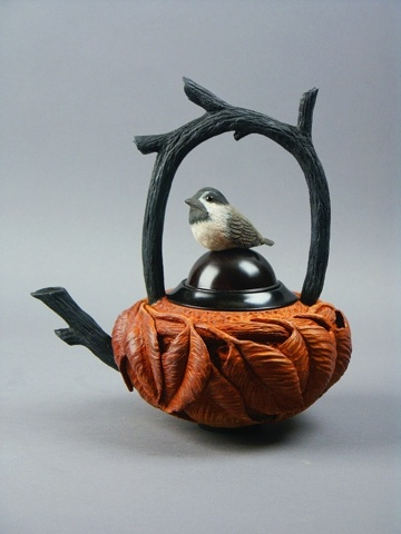 Cherry, African Blackwood, Tupelo, Acrylic Paint teapot by Milo Mirabelli