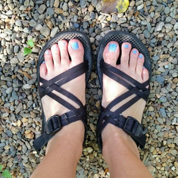 Black Chacos Black double strap chacos without toe strap. (Style is zx1 I think?) Washed in the washing machine and by hand since the photos. Worn a few times. Pet free smoke free home. Chacos Shoes Sandals