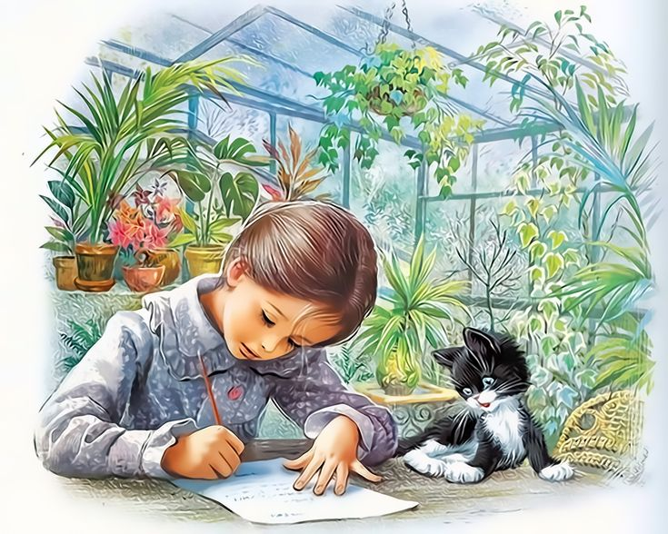 Marcel Marlier Shelbi doing homework with her kitten.