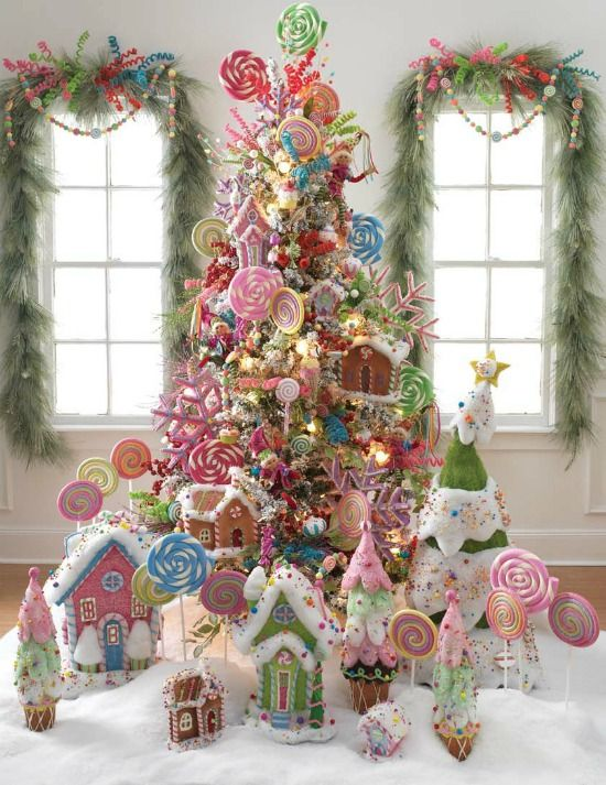 Candyland Christmas Tree plus 31 Inspiring Christmas Tree Ideas on Frugal Coupon Living. Pink Treescape for Christmas.