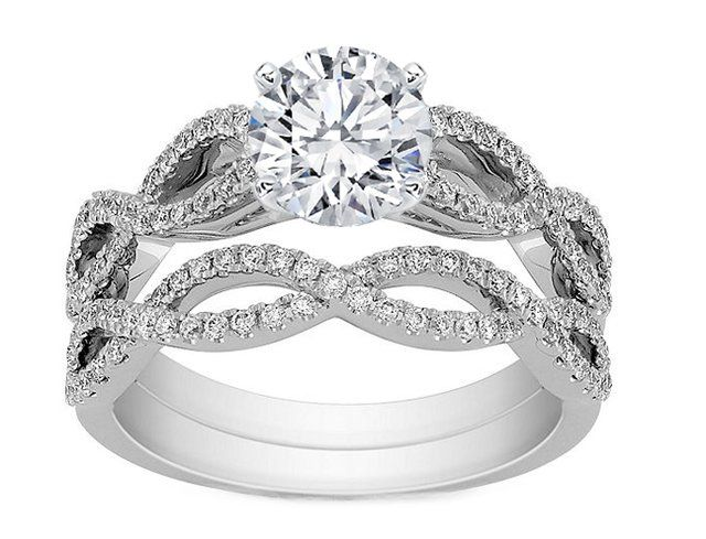 ... Ring - Infinity Bridal Set: Engagement Ring  Matching Wedding Ring