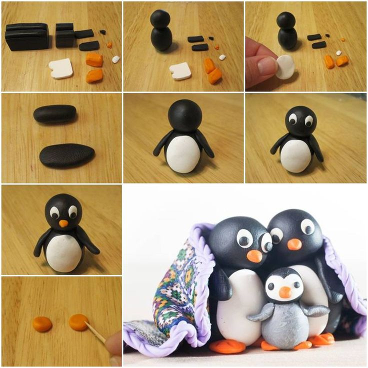 How To Make Cute Polymer Clay Penguin step by step DIY tutorial instructions, How to, how to make, step by step, picture tutorials, diy instructions, craft, do it yourself