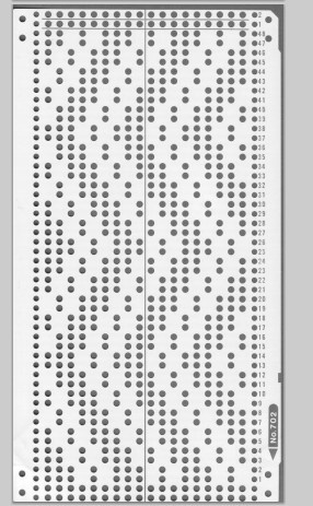 Knitmaster HK160/MK70 18st punchcards No. 702