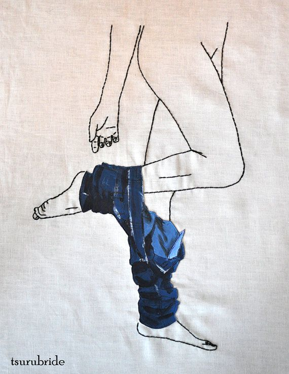 States of Undress No 3 Embroidered Wall Hanging by tsurubride, $135.00