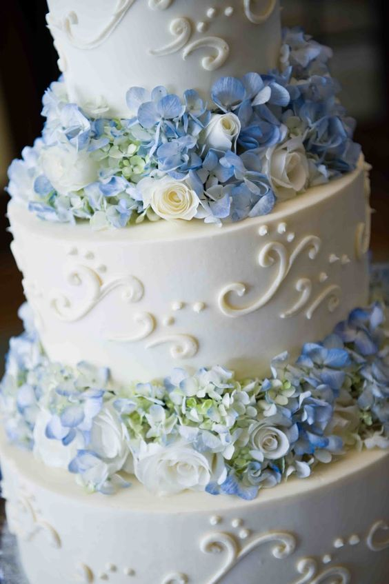 Cake Decorated With French Sky Blue And Silver