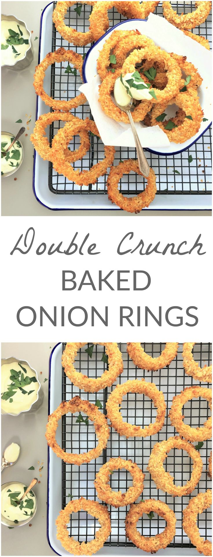 Double crunch baked onion rings | oven baked | crispy | panko | crunchy