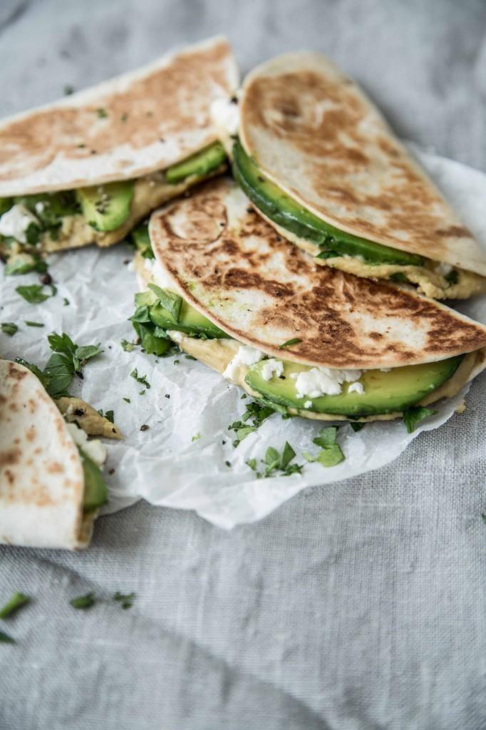 Hummus avocado quesadillas