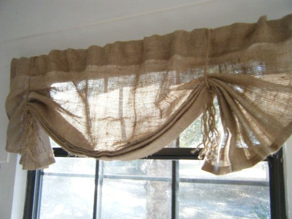 Burlap Window Valance 36 w X 14L  'The LIL by CurtainsByJackieDix, $26.00