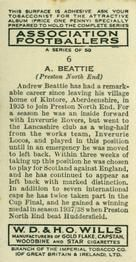 1939-40 W.D. & H.O. Wills Association Footballers #6 Andrew Beattie Back